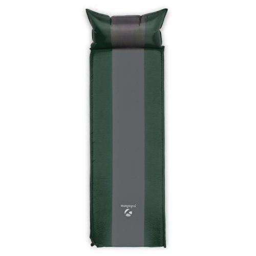 Yukatana Goodsleep - selbstaufblasbare Camping Luftmatratze, Isomatte mit Kopfkissen, kleines Packmaß, 63 x 198 cm (BxT), 3 cm dick, grün