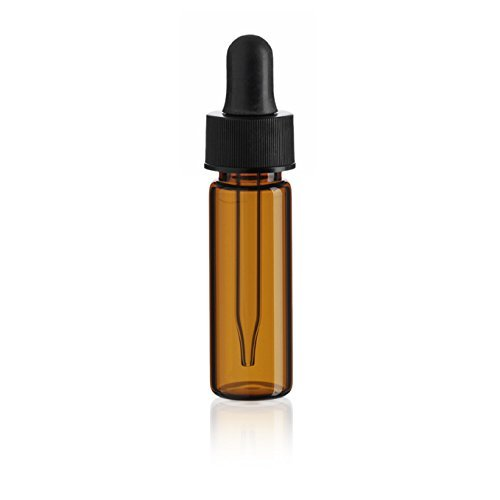 Premium Vials B32-12 Glass Vial with Dropper, 1 Dram Capacity, Amber (Pack of 12)