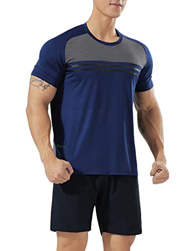 Muscle Alive Hombres Deportes Culturismo Camisetas Fitness Aptitud física Corriendo Tops MT4-Dark Blue M