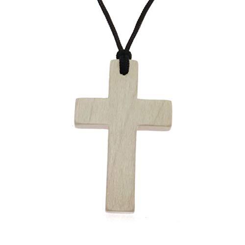 HandWoody Handmade Natural Maple Wood Cross Pendant Necklace Wooden Gift for Men Women Boy Girl