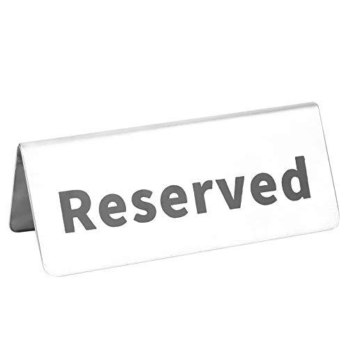 Letrero de mesa, letrero de mesa plateado de acero inoxidable, suministros de restaurante reutilizables y fáciles de limpiar para eventos de catering en el hogar(reserved)