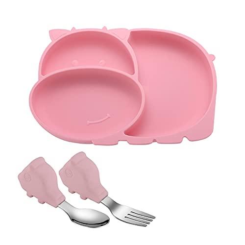 YEEWA Juego de platos para niños, placa de succión de silicona con tenedor y cuchara para bebés