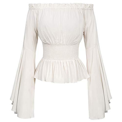 Viktorianische Leichte Langarm Smocked Taille Frauen Tops Elfenbein Größe L