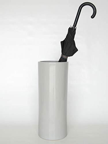 POLONIO - Paraguero de Ceramica Gris de 50 cm - Bastonero de Ceramica para Entrada y Pasillo - Jarron de Ceramica Grande Suelo Color Piedra