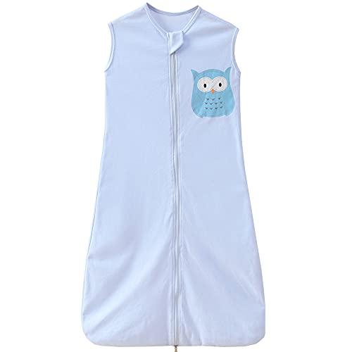 Saco de dormir de verano para bebé, 0,5 tog, para niñas y jóvenes, de 3 a 6 años, diseño de búho, color azul