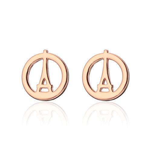 HUYV Pendientes para Mujer,Pendientes De Botón De Acero Inoxidable De Oro Rosa con Torre Eiffel Redondos De Moda para Regalo De Joyería De Cumpleaños De Navidad Hombres Niñas