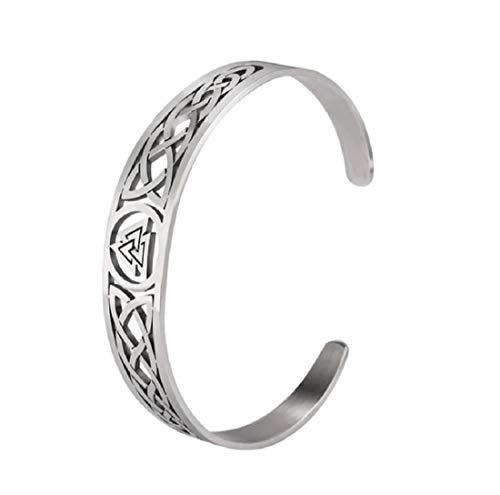 Pulsera vikinga de acero inoxidable 'Valknut', para tamaño de brazo de 5,5 cm hasta 8 cm de diámetro, Thor, Valknut | cultura nórdica, regalo para hombres, runas | Valknut