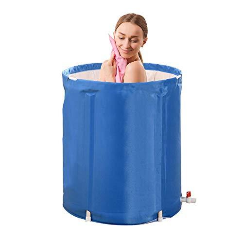 150L Badefass Bathtub Folding Wannenbad Fass Erwachsenen Wanne Badewanne, Dicker Plastikeimer Badewanne,langlebig, Isolierung, 65x70cm,mit Halterung Streifen Adapter Wasserhahn