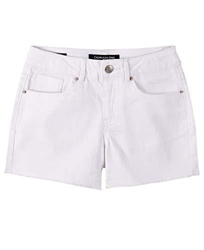 Calvin Klein Girls Cut-Off Denim Short, Boyfriend Whiteout S20, 8