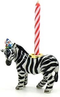 CampHollow Zebra Party Animal Candle Holder Hand Painted Porcelain Birthday Supplies Ceramic Animal African Zebra Horse Candle