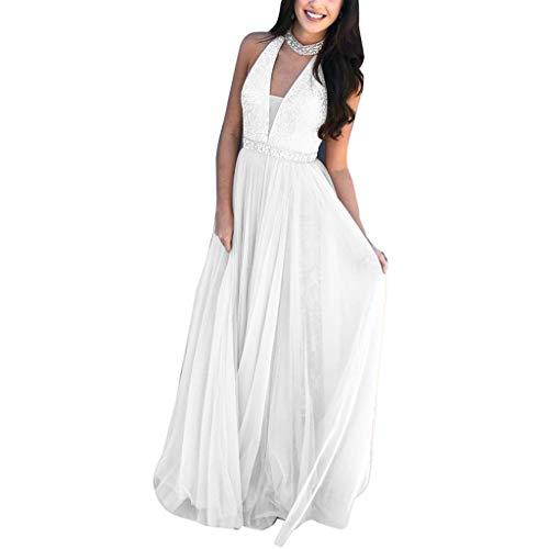 BaZhaHei Damen Sexy ärmellose Halfter V-Ausschnitt Cocktailkleid Party Kleid Lange Hochzeitskleider Brautkleid Prinzessin Ballkleider Abendkleider (S, Weiß)
