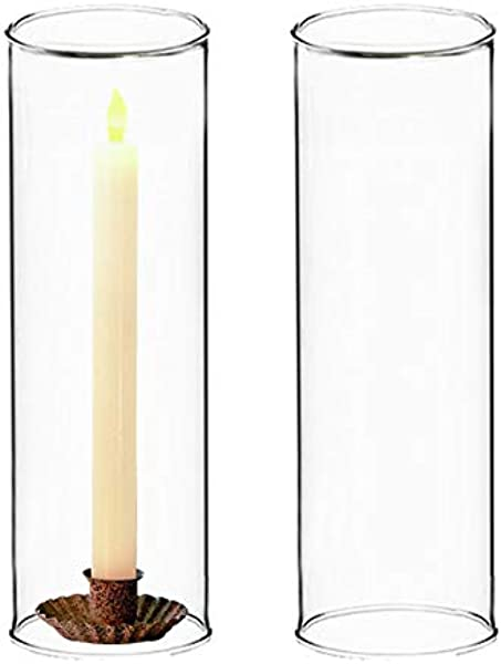 CYS EXCEL Candleholder Sets Clear Glass Candle Holder Glass Chimney For Candle Open Ended Glass Hurricane Candle Holders Of Any Size Pack Of 12 4 Wide X 18 Tall