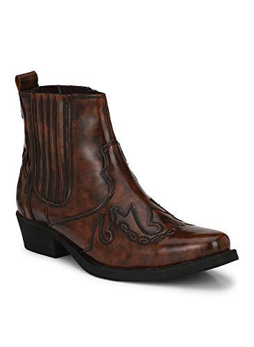 Intkoot Delize Brown Size 6 Synthetic Leather High Ankle Men Cow Boy Boots