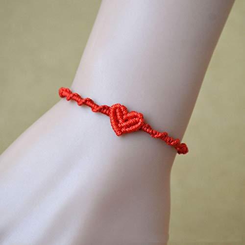 yqs Pulsera 5 unids/set trenzado amor corazón rojo cuerda pulsera mujeres hecho a mano tejida cadena pulsera hombres joyería regalo 5 unids