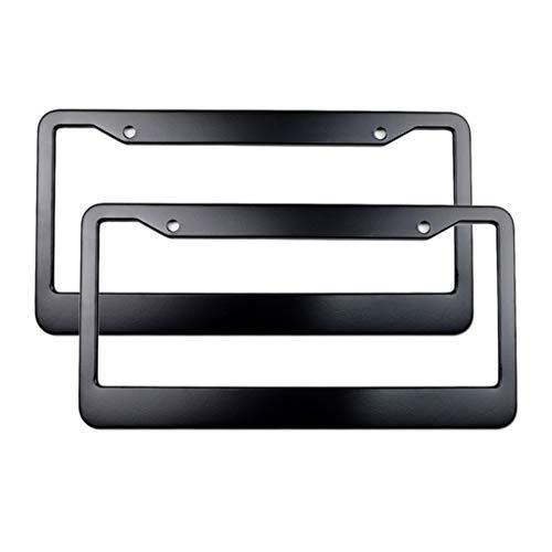 H HILABEE 2X Caja de Soporte de Marco de Placa de Matrícula de Metal Negro para Automóvil Aleación de Aluminio en Blanco EE.