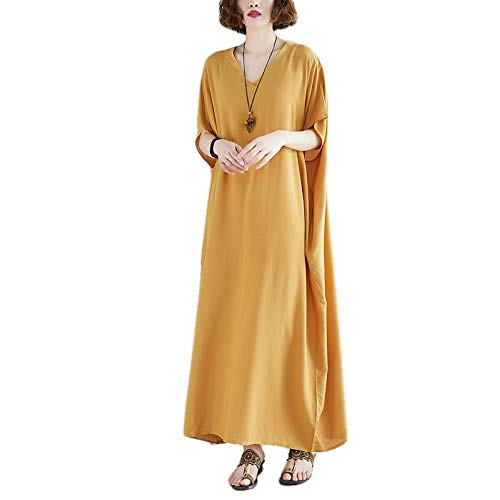 Extra Large Size Women's 210Ibs V-Neck Fat mm Cotton Long Skirt Solid Color Loose Slimming Dress Robe Yellow