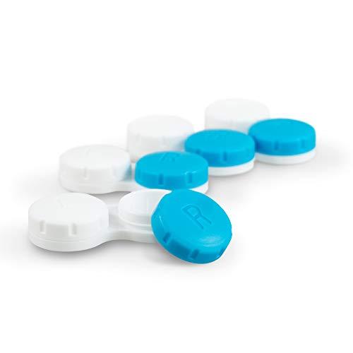 Tampen Kontaktlinsenbehälter Set · 12 Stück · Kontaktlinsendose Jahresvorrat · ideal für unterwegs · Hygiene · Blau