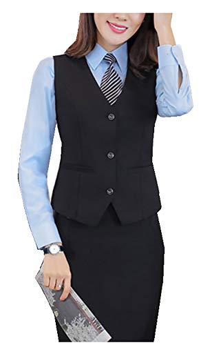 CYSTYLE Neue Damen übergröße Weste Anzug Weste MODERN Kellnerweste Slim Fit für Große Größen (Schwarz, 46)