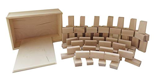 Original Baukid Holzbauklötze, GESCHENKEKISTE gefüllt mit 80 Bauklötzen Minis