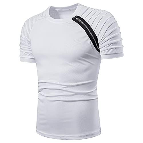 JELLYB Shirt Uomo Moderna Urban Basic Slim Fit Stretch Uomo Corsa Shirt Estate Girocollo Cerniera Pieghe Design Uomo T-Shirt Quotidiano Outdoor Sport Uomo Manica Corta