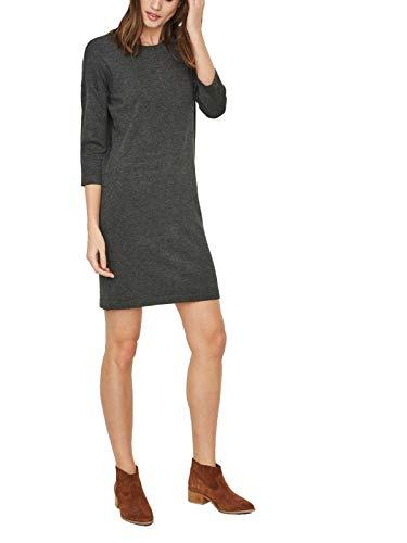 VERO MODA Damen Vmglory Vipe Aura 3/4 Dress Noos Kleid, Dark Grey Melange, S EU