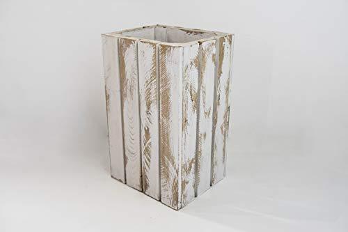 Papelera de Madera Blanca Vintage Sam, Papelera Decorativa de Madera, Blanco Vintage, 30.5x26.5x49cm. Incluye Imán de Madera Personalizable de Regalo.