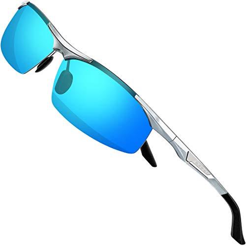 SIPLION Herren Sportbrille Polarisierte Sonnenbrille Treiber Glasses Sonnenbrillen Al-Mg Metallrahme Ultra leicht (8729Silber /Silber Verspiegelt Linsen)