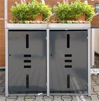 edi Garden Mülltonnenbox Metall - Mülltonnenverkleidung Mit Pflanzwanne Für 2 Mülltonnen Mit 120/240 Liter - Anthrazit