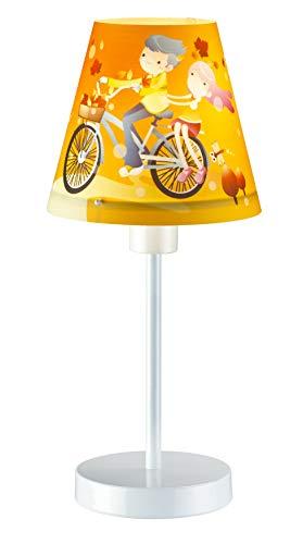 Tafellamp kinderen wit oranje kleurrijk motief 30cm hoog meisjeslamp bed kinderkamerlamp