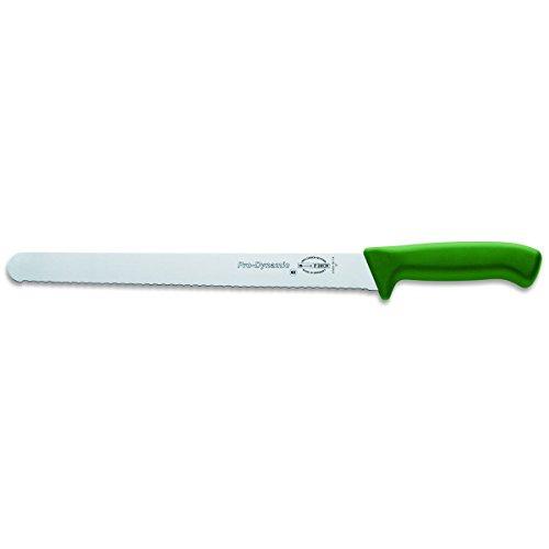 Dick Aufschnittmesser mit Wellenschliff 30 cm Klinge - Griff grün - Brisket Messer für Lachs, Schinken, Wurst, Käse, Brot, Gemüse oder Obst