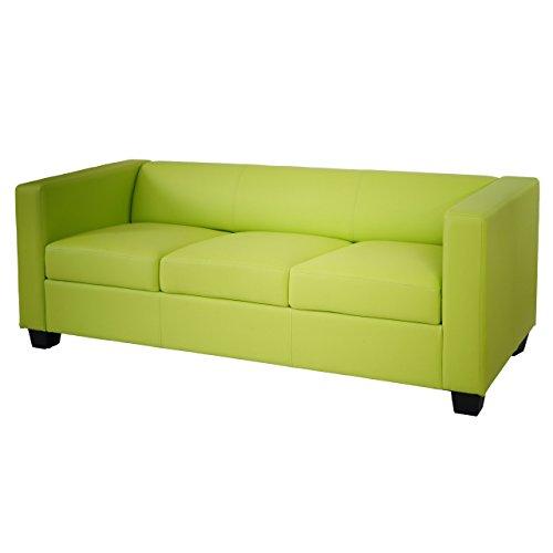 Mendler 3er Sofa Couch Loungesofa Lille - Kunstleder, hellgrün