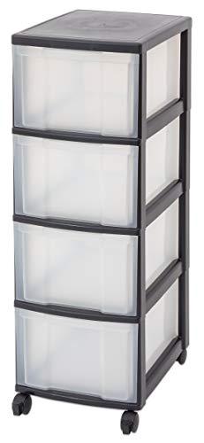 IRIS Schubladenbox mit Rollen schwarz/transparent (4 große) - Schubladenschrank...