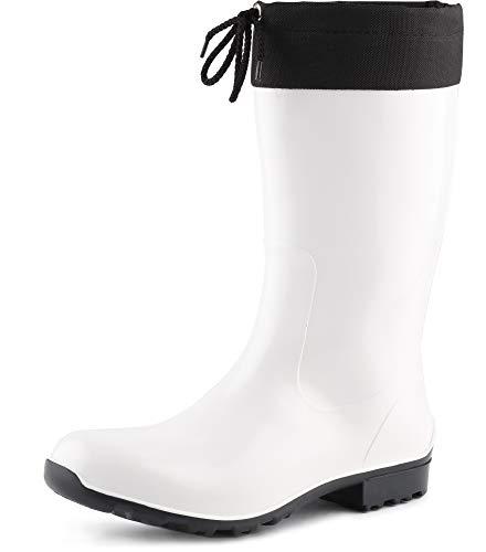 Ladeheid Botas Antideslizantes en PVC Mujer LA-968 (Blanco, 37 EU)