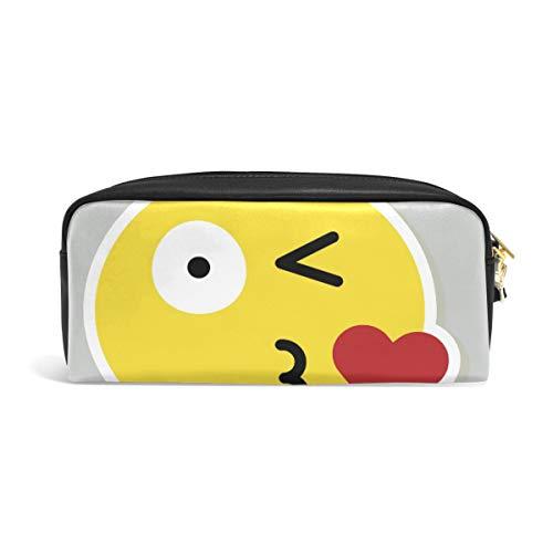 Beso de emoticono para adolescentes, bolsa con cremallera, para niños, niñas, colegio, material de escritura de piel sintética con compartimentos