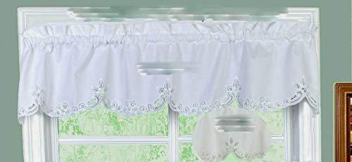 """14"""" L Valance - Battenburg Lace Kitchen Curtain Valance Ecru Beige Shower Curtains"""