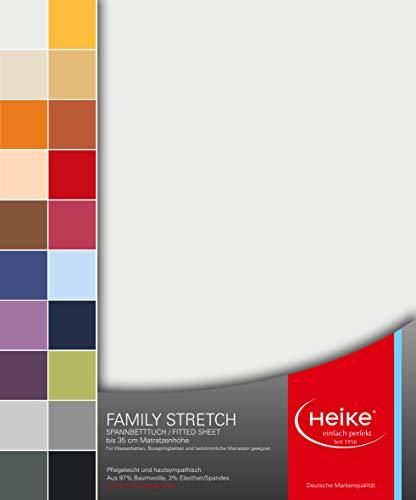Heike Spannbettlaken Jersey Family Stretch 97{7c3d7fb1d631ccf6cef93e80dce21aa4d1fb5e14ec3118b543ed6d98658d99a3} Mako-Baumwolle 3{7c3d7fb1d631ccf6cef93e80dce21aa4d1fb5e14ec3118b543ed6d98658d99a3} Elastan Deutsche Markenqualität 230 gr/m2 bis 35 cm Höhe für Wasserbetten Boxspringbetten und herkömmliche Matratzen (Weiss)