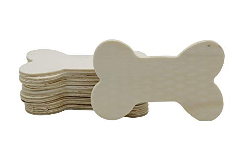 Creative Hobbies 3.5 Inch Unfinished Wood Dog Bone Cutouts, Pack of 12, Ready to Paint or Decorate