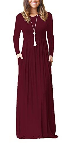 Swing Maxi Dresses Long Sleeve Casual Long Dresses for Women Wine Red S