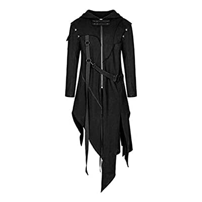 Men's Black Long Steampunk Gothic Tailcoat Asymmetrical Hem Long Sleeve Zip Trench Coat (S)