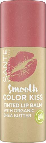Sante Naturkosmetik Smooth Color Kiss 01 Soft Coral, Getönter Lippenbalsam, Mit Bio-Sheabutter, Spendet Feuchtigkeit, Zarter fruchtiger Duft, 8.5 g