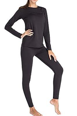 Thermal Underwear for Women Fleece Lined Basic Long John Set Ultra Soft Black