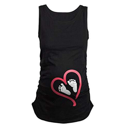ManMan Camiseta de maternidad divertida con fruncido lateral, parte superior para embarazo, talla grande