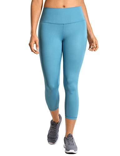 CRZ YOGA Mujer Compresión Mallas Largos Pantalones Deportivos Cintura Alta con Bolsillo-53cm Utility Blue 36