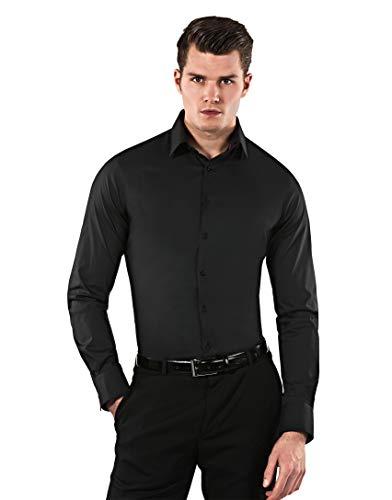 Vincenzo Boretti Herren-Hemd Body-Fit (besonders Slim-fit tailliert) Uni-Farben bügelleicht - Männer lang-arm Hemden für Anzug Krawatte Business Hochzeit Freizeit schwarz 39-40