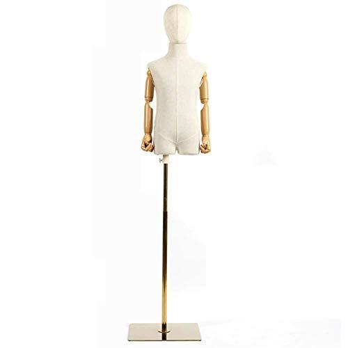 ZSMPY Mannequin Menschliche Torso-Modell Zeigt Schneider Modell Kind Büste Abnehmbare Kopf Metallbasis, Geeignet For Kinderbekleidungsgeschäft Stand Schaufensterauslage (Color : A, Size : S)