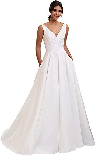 Vestidos de novia para novia una línea de vestidos de novia de playa vestido de novia largo para boda formal vestidos de fiesta, Moderno / Equipada, 8, P - blanco