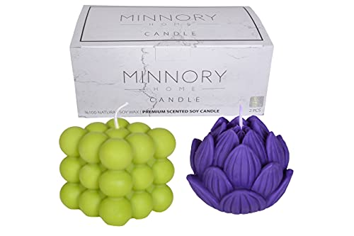 Minnory Home, Candles for Home Scented, 2 PCS, Soy Candles, Bubble Candle & Artichoke Candle, Jasmine Candle, Shaped Candles, Candle Set, Scented Candles, Cube Candle, Candle Gift Set, Cool Candles