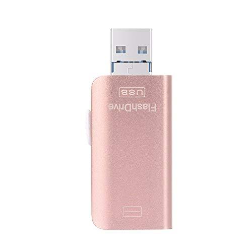 Unidad Flash USB, Disco Push u u, aleación de Zinc 3 en 1 Memory Stick Relámpago de Alta Velocidad + USB 3.0 + Puerto Android para iPhone / Android / Windows con 16/32/64/128 / 256GB