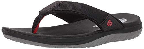 Clarks Men's Step Beat Dune Flip-Flop Black Textile 080 M US