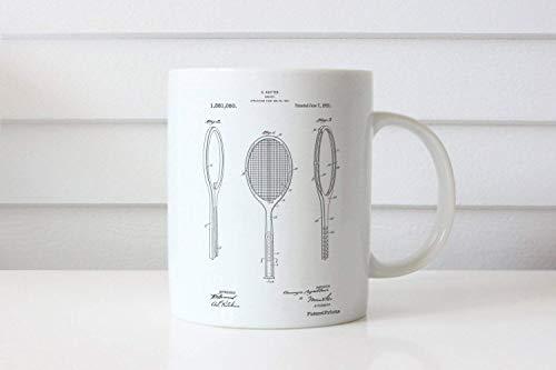 N\A Taza de Patente de Raqueta de Tenis Vintage Taza de Tenis Decoración Deportiva Regalo para Entrenador PP1128